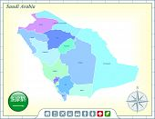 Saudi Arabia Map with Flag Buttons and Assistance & Activates Icons Original Illustration