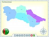 Turkmenistan Map with Flag Buttons and Assistance & Activates Icons Original Illustration