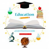 Subjects Education On White Background Around Open Book, Concept Of Education. Vector Illustration poster