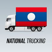 Symbol Of National Delivery Truck With Flag Of Laos. National Trucking Icon And Laotian Flag poster