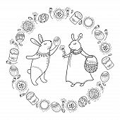 Vector Happy Easter Card With Outline Easter Rabbit Couple, Egg, Cake And Basket Isolated On White B poster