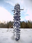 Extreme Low Ankle Close View To Mountain Bicycle Blocked In Snowy Icy Trail.  Extreme Wide View poster