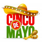 Cinco De Mayo Emblem Design With Lettering, Sombrero And Maracas - Symbols Of Holiday. Isolated On W poster