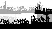 Illustration Of Zombie Attack And Armed Humans Defencing Silhouette On White Background poster