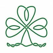 Vector Imitation Of Celtic Knotwork Or Icovellavna: Clover Or Shamrock Endless Knot As Design Elemen poster