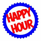 Happy Hour Typographic Stamp. Typographic Sign, Badge Or Logo. poster