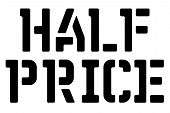 Half Price Typographic Stamp. Typographic Sign, Badge Or Logo. poster