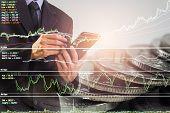 Business Man On Stock Market Financial Trade Indicator Background. Man Analysis Stock Market Financi poster