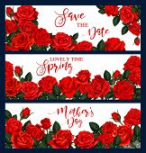 Vector Banner With Red Roses Frame. Three Vector Banners With Red Roses. Floral Frame For Greeting C poster