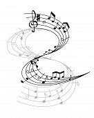 Music Notes On Scale Isolated Vector. Musical Design Elements In Black And White Colors. Various Mus poster