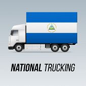 Symbol Of National Delivery Truck With Flag Of Nicaragua. National Trucking Icon And Nicaraguan Flag poster