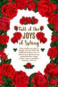 Spring Time Poster Or Red Roses Bunch In Floral Ornate Frame For Springtime Greeting Card And Season poster