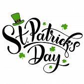 Happy Saint Patricks Day Vector Illustration. Irish Celebration Design. Hand Drawn Badge With Shamr poster
