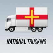 Symbol Of National Delivery Truck With Flag Of Guernsey. National Trucking Icon And Flag Design poster