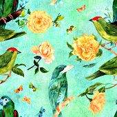 A Seamless Pattern With Watercolor Drawings Of Vibrant Teal Blue And Green Birds, Blooming Yellow Ro poster