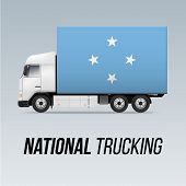 Symbol Of National Delivery Truck With Flag Of Federated States Of Micronesia. National Trucking Ico poster