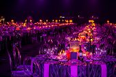 Purple Decor Setting For A Gala Dinner Or Event poster