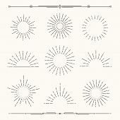 Set Of Vintage, Hipster Sunburst Shapes. Shine Sun Ray Set.  Sunset Icon Collection. Trendy Hand Dra poster