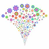 Multi Colored Cogwheel Explosion Fountain. Object Fountain Combined From Random Cogwheel Design Elem poster