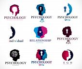 Psychology, Brain And Mental Health Vector Conceptual Icons Or Logo Set. Relationship And Gender Psy poster
