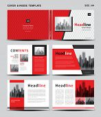 Red Cover Design And Inside Template For Magazine, Ads, Presentation, Annual Report, Book, Leaflet,  poster