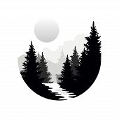 Beautiful Nature Landscape With Silhouettes Of Forest Coniferous Trees, Mountains And Sun, Natural S poster