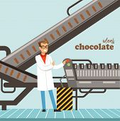 Hocolate Factory Production Line, Male Controller Controlling The Production Process Vector Illustra poster