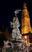 Brabo Fountain and Cathedral of Our Lady (1352-1521), Antwerp, Belgium