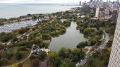 View From Above Chicago Park Zoo, Diversey Harbor, North Pond And Lake Michigan With Chicago Downtow poster