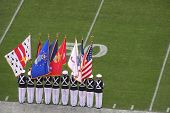 stock photo of army cadets  - rotc cadets lined up at the sideline of the 50 - JPG