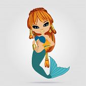 Vector Illustration With Little Mermaid In Anime Style. Young Beautyful Girl. Red-haired Girl. poster