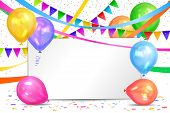 Happy Birthday Design. Realistic Colorful Helium Balloons, Flags Garlands And White Sheet. Party Dec poster