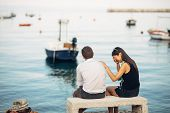 Romantic Couple Having Relationship Problems.woman Crying And Begging A Man.fisherman Life,dangerous poster