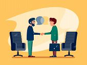 Business Conversation At Meeting. Two Men Make Deal. Vector Illustration poster