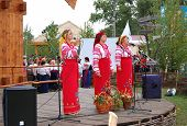 Veliki  Sorochintsi Village, Poltava Region, Ukraine - August 20: Ukrainian Folk Group In Traditiona