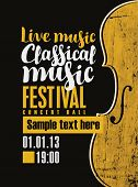 Vector Banner For A Festival Live Music With The Inscription Classical Music And A Violin In Retro S poster