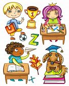 schoolchildren. Isolated on white background. Blond boy with book and soccer ball,  cute Hispanic girl sitting and drawing,  African boy  playing paper plane, very smart dog sitting on books