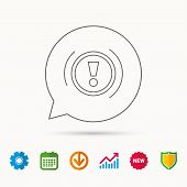 Warning Icon. Dashboard Attention Sign. Caution Exclamation Mark Symbol. Calendar, Graph Chart And C poster