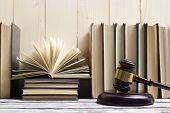 Legal Law Concept - Open Law Book With A Wooden Judges Gavel On Table In A Courtroom Or Law Enforcem poster