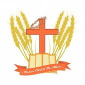 The Bible And The Christian Cross In Edging Made From Wheat Ears. Vector Logo For Christian Churches poster