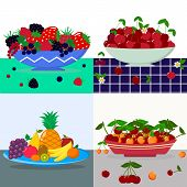A Set Of Vector Illustrations Different Berries In A Blue Plate, Red Cherry In A Plate, Fruits In A  poster