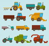 Set Of Different Types Of Agricultural Vehicles And Harvester Machine, Combines And Excavators. Icon poster