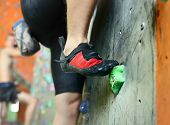 stock photo of climbing wall  - Young man - JPG