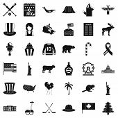 American Journey Icons Set. Simple Set Of 36 American Journey Vector Icons For Web Isolated On White poster