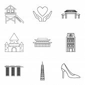 Lover Icons Set. Outline Set Of 9 Lover Vector Icons For Web Isolated On White Background poster
