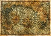 Antique Map With Treasures Hunt Concept And Old Ship. Pirate Adventures, Treasure Hunt And Old Trans poster