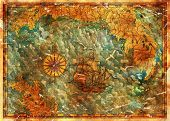 Antique Treasures Map With Pirate Sailboat, Compass And Islands. Pirate Adventures, Treasure Hunt An poster
