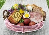 Easter Traditional Food With Ham, Eggs And Bread In Basket. Holidays Background Outdoor poster
