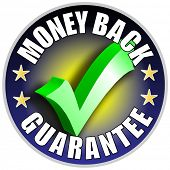 Money Back Guarantee Button/Label blue version