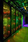 Data Center, Server Room. Internet And Network Telecommunication Technology. poster